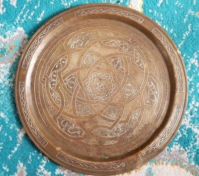 Antique Vintage Islamic Silver & Copper Inlaid Hammered Etched Bronze Tray