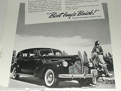 1940 BUICK LIMITED advertisement, Buick Limited sedan, B&W photo