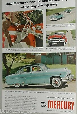 1954 Mercury ad, Mercury 161hp, color photos