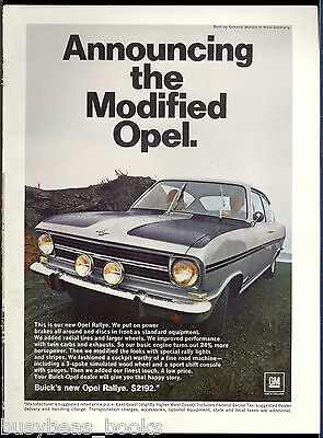 1967 BUICK OPEL advertisement, OPEL RALLE, GM import