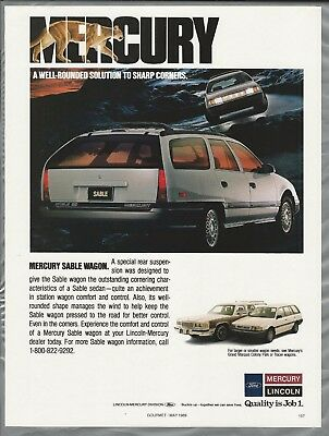 1989 MERCURY SABLE WAGON advertisement, White station wagon