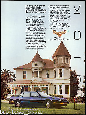 1986 BUICK LeSABRE advertisement, Buick LeSabre sedan at Victorian house