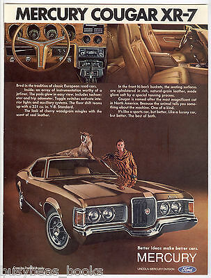 1971 Mercury COUGAR XR-7 advertisement, 2-door car, with live cougar