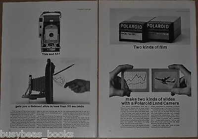 1963 Polaroid advertisements x2 for POLAROID projector slide film