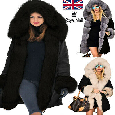 Roiii Womens Ladies Quilted Winter Coat Fur Collar Hooded Jacket Parka Outerwear