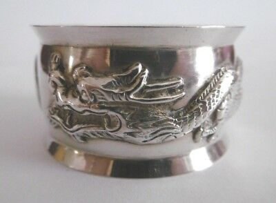 Lovely Antique Solid Chinese Export Silver Dragon Napkin Ring C1900 22.7G