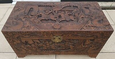 Antique Carved Chinese Oriental Fish Dragons Camphor Wood Chest Trunk