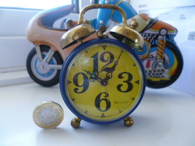 Vintage Mechanical Blessing West Germany Miniature Colourful Working Alarm Clock