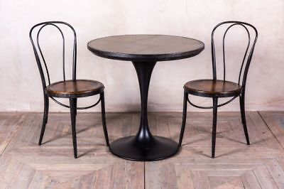 Round Restaurant Cafe Table With Tulip Style Base Metal Top Dining Table