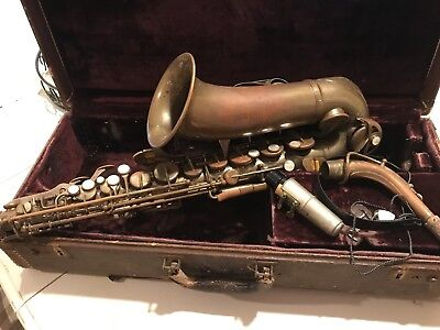 Vintage Saxophone With Mother Of Pearl Accents +Case