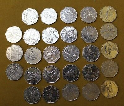 x28 Collectible Fifty Pence Coins/Suffragette/Peter Rabbit/Hospiscare