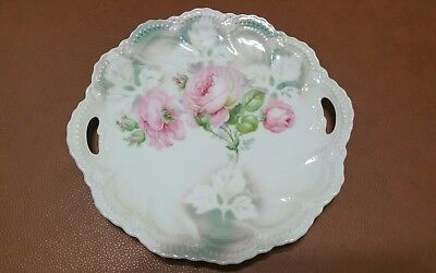 Antique Vintage Leuchtenburg Germany Cake Plate Roses Hand Painted Cabinet Plate