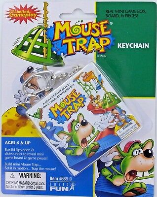 MOUSE TRAP Keychain Game Miniature Mousetrap Mini Doll Basic Fun Retired NEW