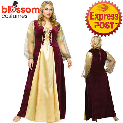 CA331 Juliet Medieval Maid Marion Plus Renaissance Dress Up Costume Shakespeare