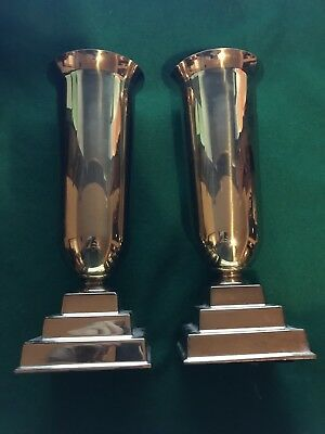"Church Style, Brass, Flower Alter Vases. W/ Aluminum Inserts. 11 1/2"" Tall"
