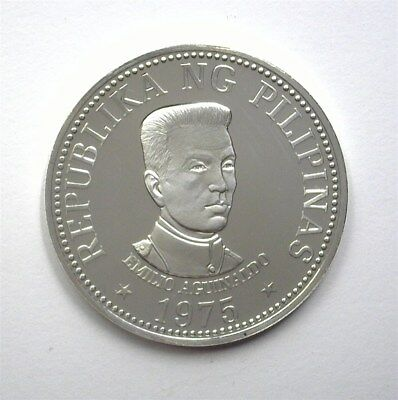 Philippines 1975 Silver 25 Piso  Km#211  Near Perfect Proof Dcam