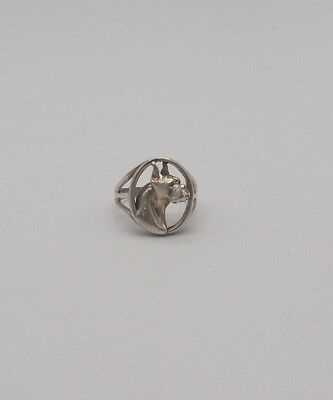 Sterling Silver Boxer/Great Dane Ring. Size 6 3/4. Good Estate Condition