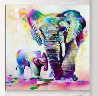 CHOP809 hand painted Multi-Color big small elephants oil painting art canvas