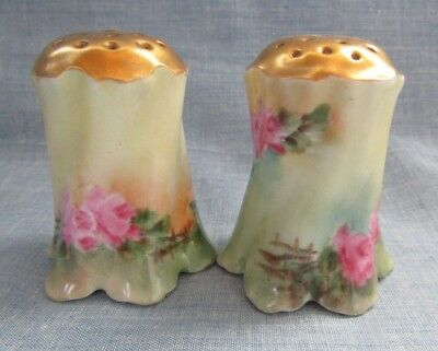 Antique Porcelain  Hand Painted Roses Salt And Pepper Shakers Gold Tops