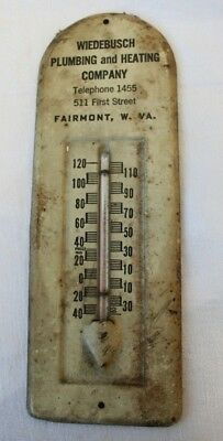 Vintage Old Advertising Thermometer WIEDBUSCH Plumbing & Heating Co Fairmont WV