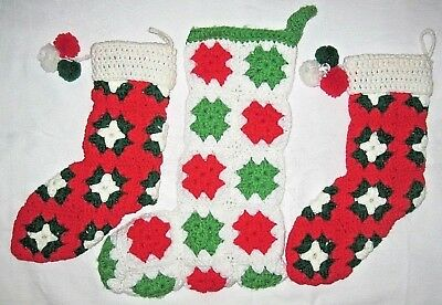 Lot 3 Vintage Hand Crocheted Christmas Stockings