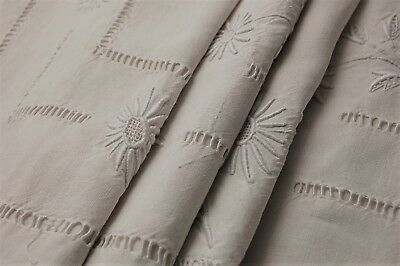 """Vintage French PURE Linen Bed Sheet Floppy Embroidered Flowers Monogram 76x120"""""""