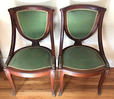 Pair of Antique Vintage Wooden & Brass HALL CHAIRS - Original Upholstery