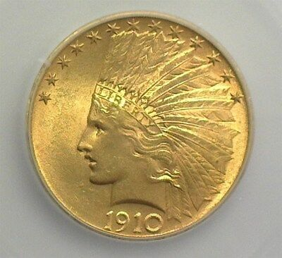 1910 Indian Head Gold $10 Icg Ms65+   Rare In Gem  Lists $8500