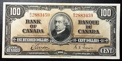 1937 Bank of Canada $100 Hundred Dollar Banknote ***EF Condition***