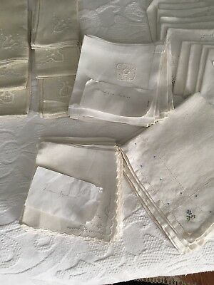 Vtg. Lot of 40 Napkins- Estate- 40 luncheon sizes catering embroidery trim