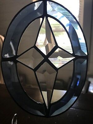Stained Glass Beveled Blue Oval Star Sun Catcher