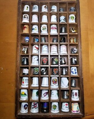 Vintage Lot Of 60 Souvenir Thimbles Metal Pewter Porcelain Disney Epcot States +