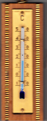 OVP 1950er Zimmerthermometer 11 cm mit Messing-Intarsien Thermometer Celsius