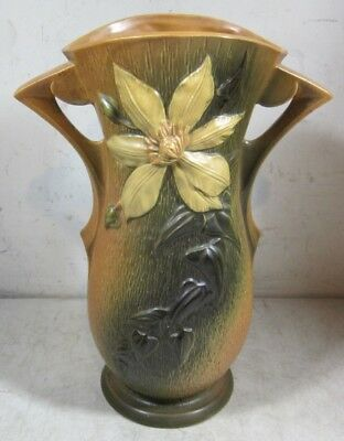 Vintage Roseville Pottery Clematis Vase 102 6 Green Chipped