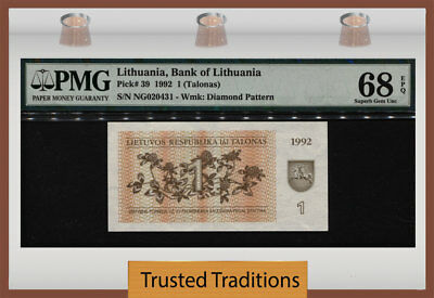 Tt Pk 39 1992 Lithuania Bank Of Lithuania 1 (Talonas) Pmg 68 Epq Superb Gem Unc!