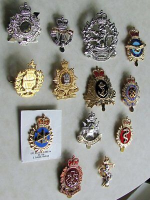 Lot of 13 Canadian Military Cap Badges Air force, Navy, Medical And More