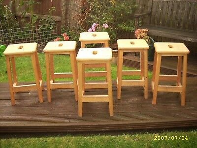 Vintage Chabby chic old school wood  lab stools x6