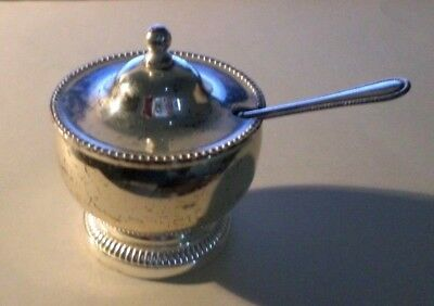 A VINTAGE RARE ZINC SILVER PLATED MUSTARD POT WITH SPOON AND LINER 6 cm high