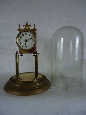 Antique Brass Glass Dome Anniversary Clock. Spares Or Repair