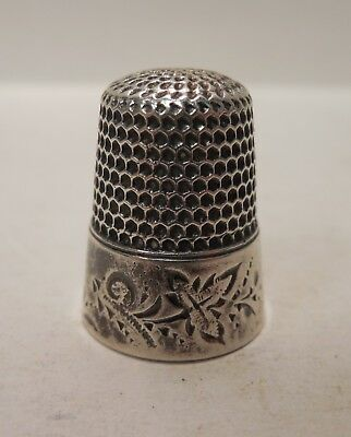 Vintage-Waite, Thresher Company-Leaves & Swirls-Sterling Silver-Thimble-Size 8