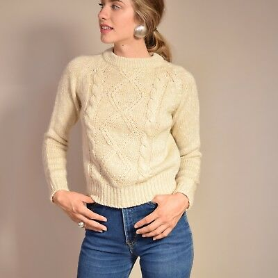 Vtg early 80s wheat CABLE KNIT chunky textural MINIMALIST preppy crop sweater S