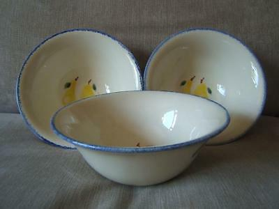Poole Pottery DORSET FRUIT set of 3 x CEREAL dessert BOWLS curved sides PEARS