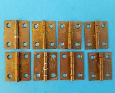 """8 Vintage Broad Wrought Brass Butt Hinges 1 1/4""""x1"""" NOS"""