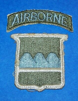 ORIGINAL CUT-EDGE WW2 80th INFANTRY DIVISION PATCH + POSTWAR AIRBORNE TAB