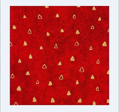 Kaufman G Klimt Red Background Gold Triangle Gilded Fabric BTY 17182-3