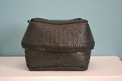 Vintage Antique Philippine Tribal Woven Rattan Lunch Basket Collectible