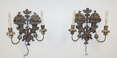 Pair Antique 18th Century Carved Wood Italian Baroque Hanging Wall Sconces