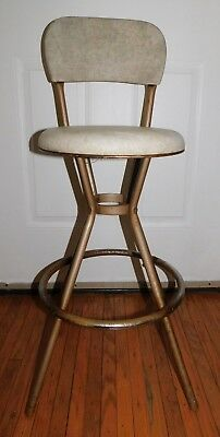 Retro Cosco Metal Fixed Stool with Back Round Seat