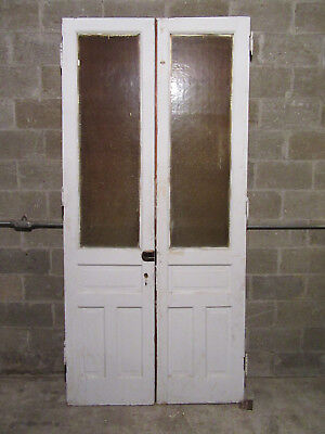 ~ ANTIQUE DOUBLE ENTRANCE FRENCH DOORS  ~ 47.5 x 100 ~  ARCHITECTURAL SALVAGE