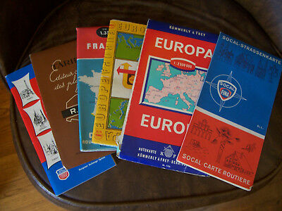vintage 6x 1960s advertising Esso Shell Fina France Western Europ Travel maps
